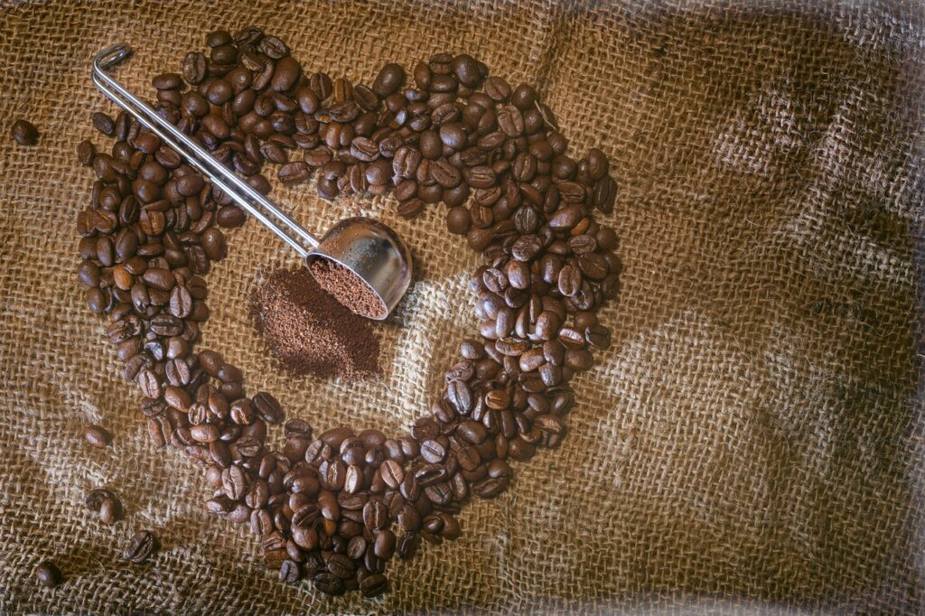 coffee beans forming a heart shape