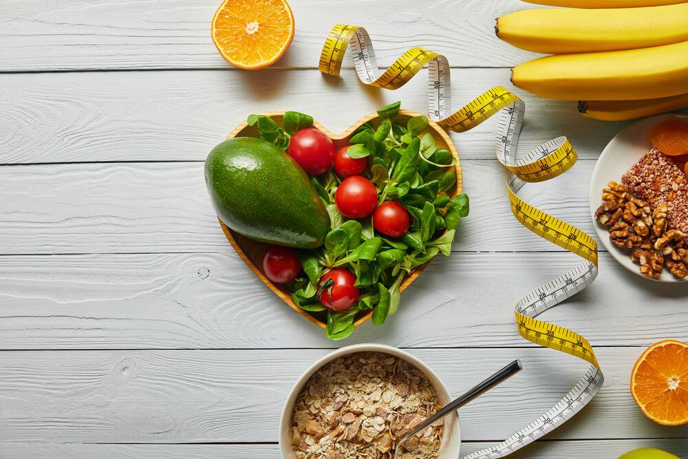 fresh fruits, vegetables in heart-shape