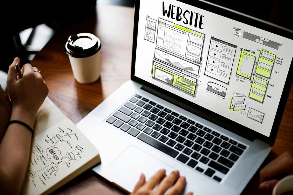 woman making a website