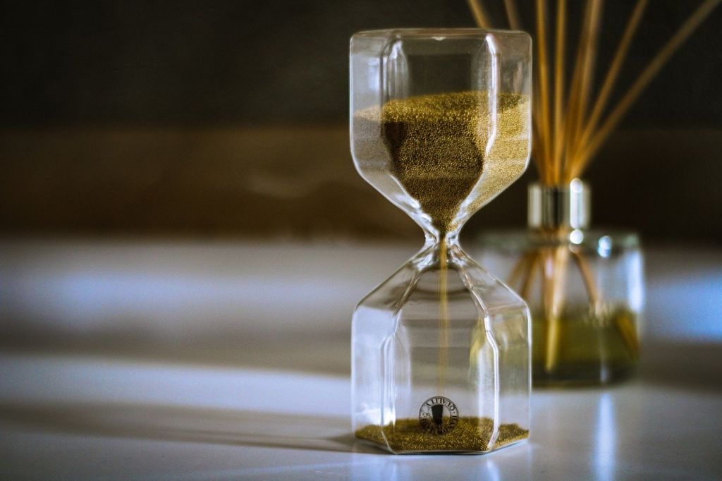 an hourglass on a table top
