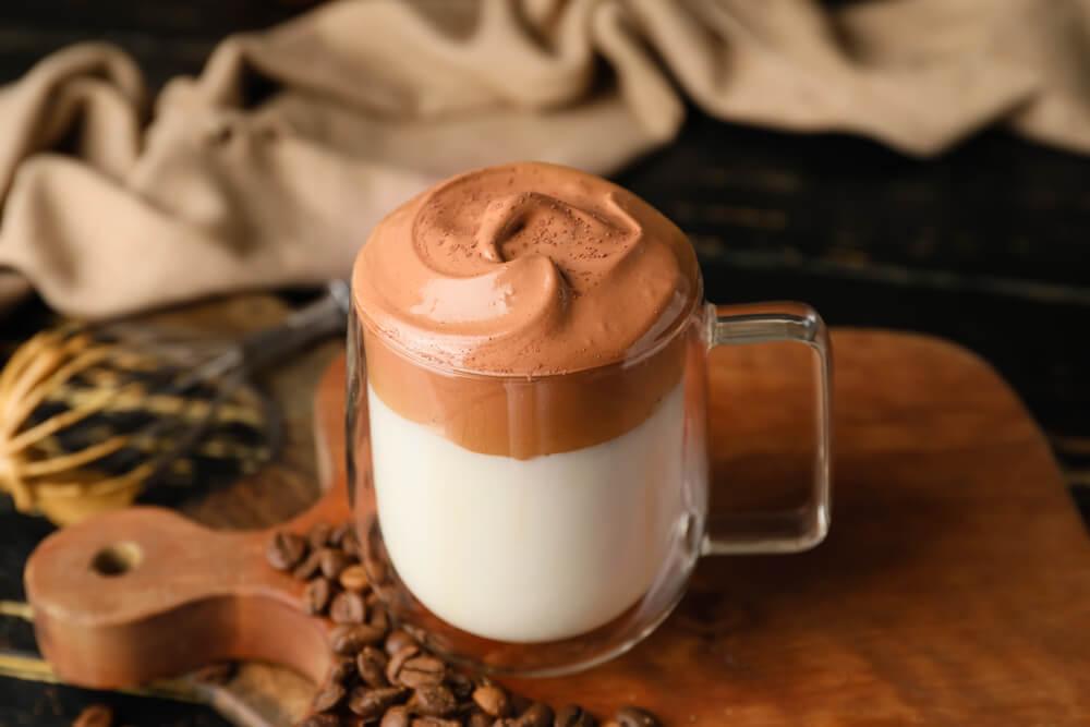 dalgona coffee in a table