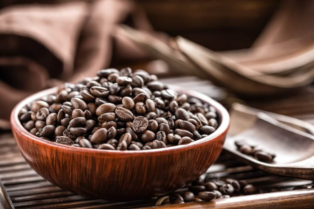 coffee beans on a bowl