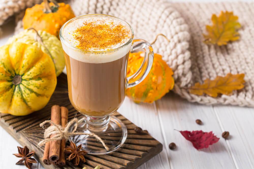 a glass of Pumpkins spice latte