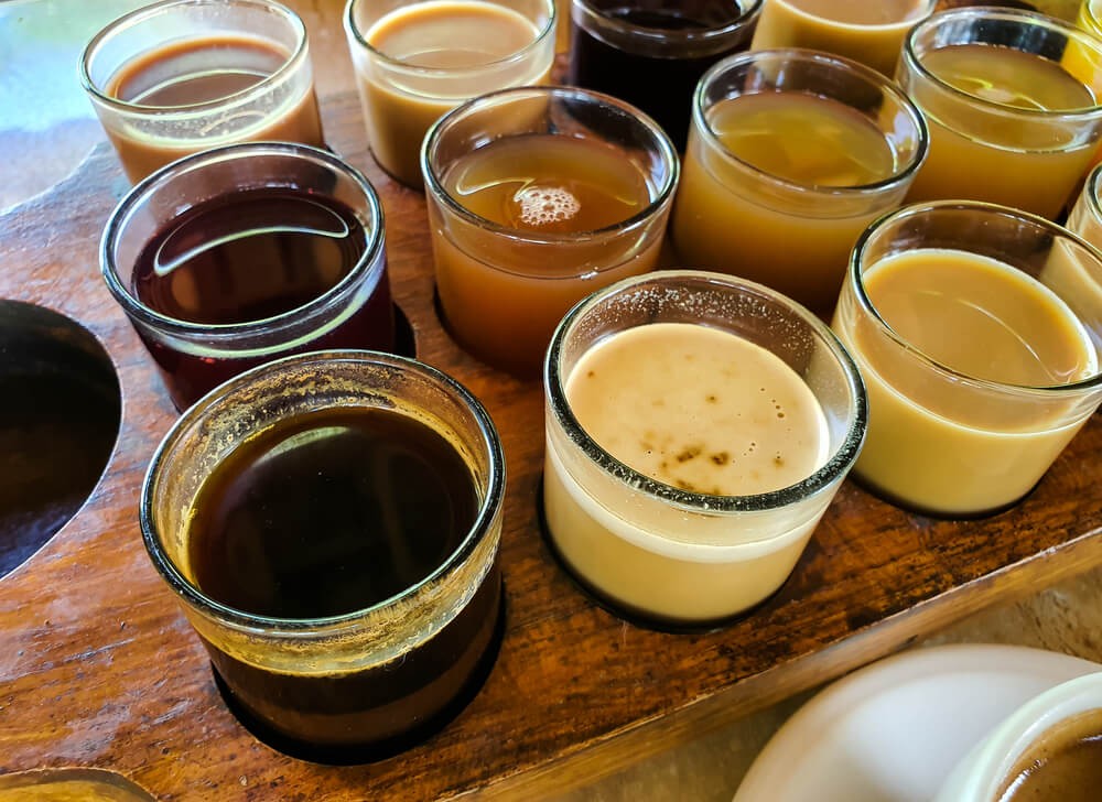 Different Balinese coffee served in small glasses - how to make Bali coffee