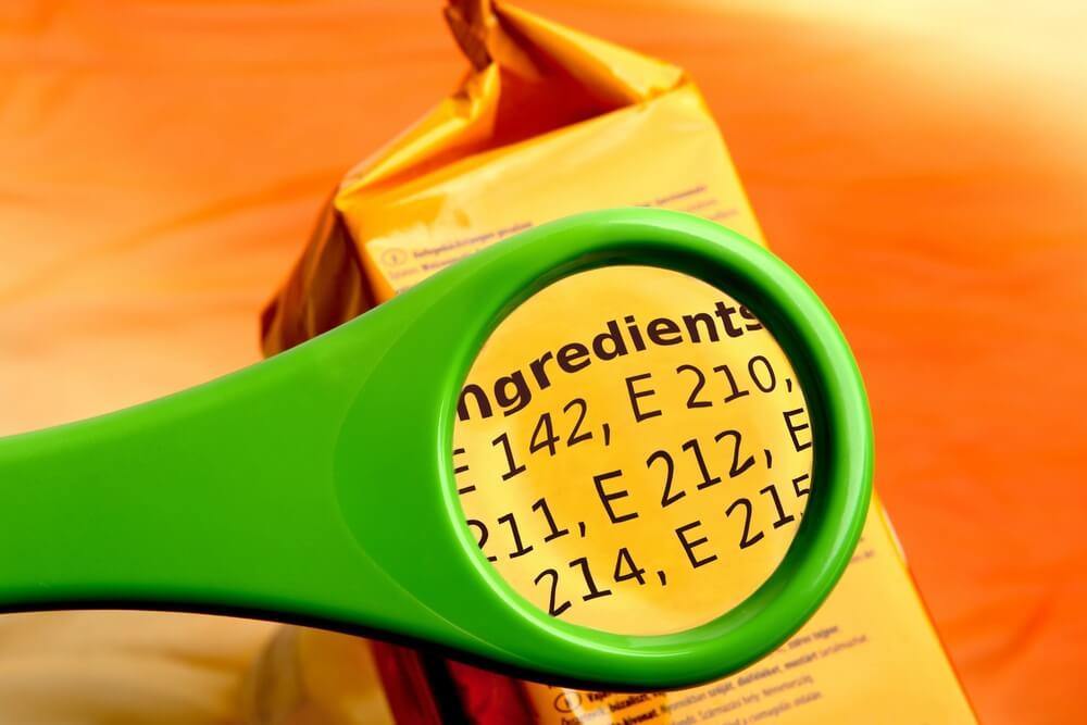 reading ingredients list on food package