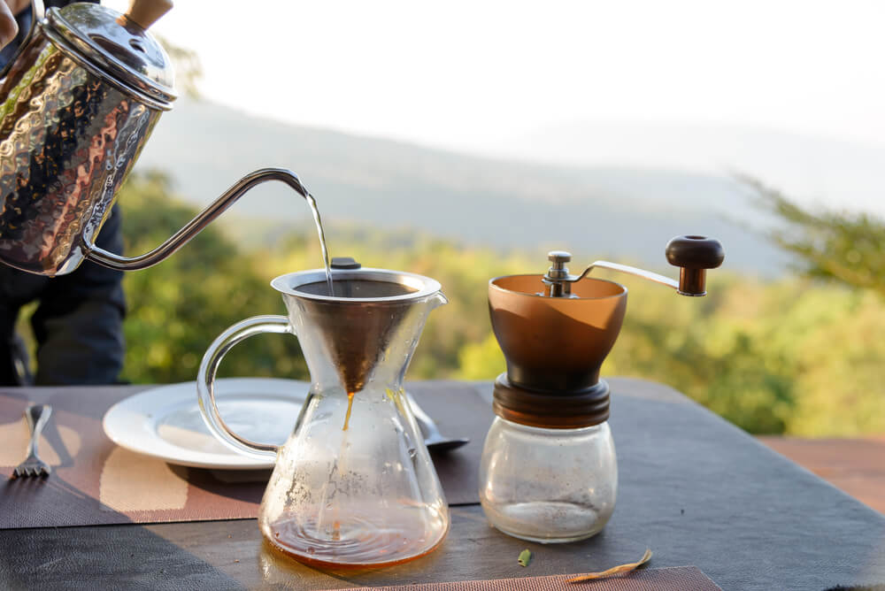 Hand drip coffee making pour over coffee
