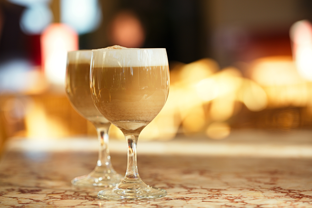 Spanish coffee latte in tall glasses
