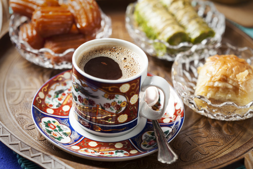turkish coffee with different kind of foods