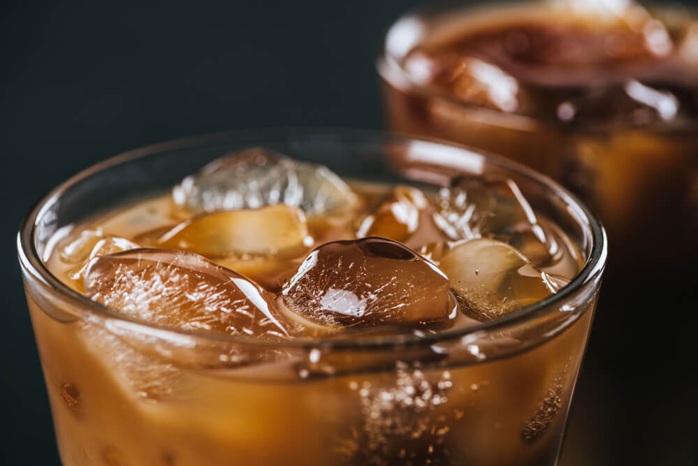 a coffee with ice cubes